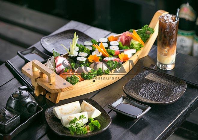 Phân phối khay thuyền gỗ Sushi tiệc Buffet